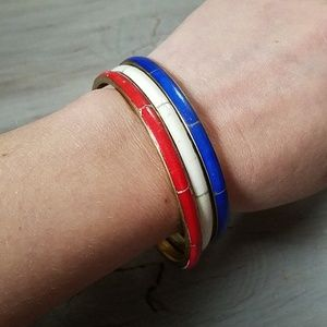 Jewelry - Vintage red white blue brass bangle bracelet set